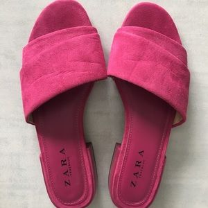 Zara leather hot pink flats